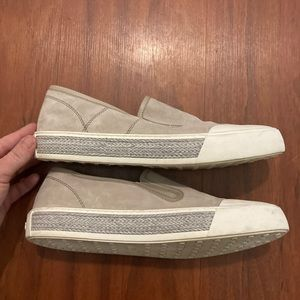 Tod's Women Shoes Grey Suede Knotted Leather Trim
